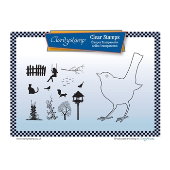 Claritystamp BIRD OUTLINE Clear Stamps and Mask STABI10509A5