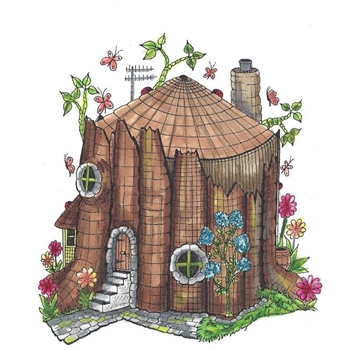Riley and Company Mushroom Lane TREE STUMP HOUSE 2 Cling Stamp Set ML-2429