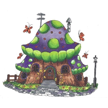 Riley and Company Mushroom Lane BUTTERFLY HOUSE Cling Stamp Set ML-2423