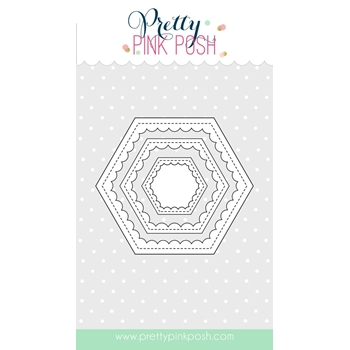 Pretty Pink Posh SCALLOP HEXAGONS Die Set