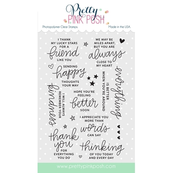 Pretty Pink Posh THOUGHTFUL GREETINGS Clear Stamp Set