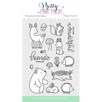Pretty Pink Posh WOODLAND CRITTERS Clear Stamp Set