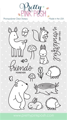 Pretty Pink Posh WOODLAND CRITTERS Clear Stamp Set  zoom image