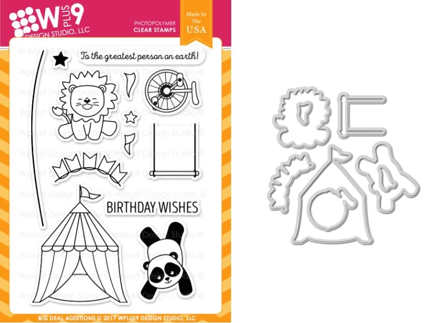 Wplus9 BIG DEAL ADDITIONS Clear Stamp And Die Combo