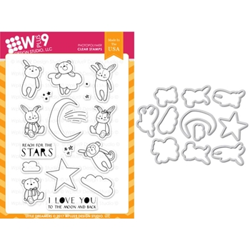 Wplus9 LITTLE DREAMERS Clear Stamp And Die Combo WPLUS394