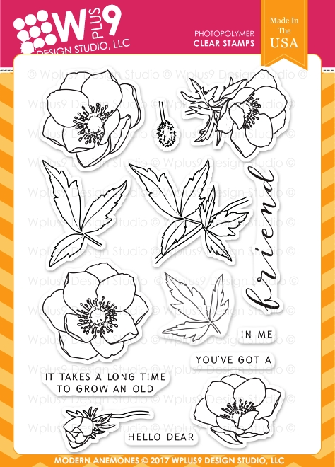 Wplus9 MODERN ANEMONES Clear Stamps CL-WP9MA zoom image