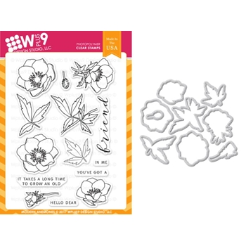 Wplus9 MODERN ANEMONES Clear Stamp And Die Combo WPLUS397