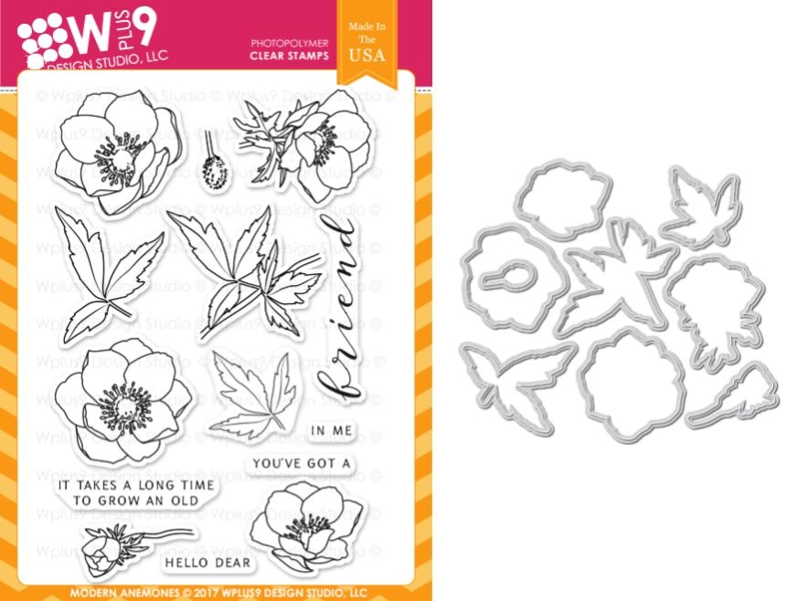 Wplus9 MODERN ANEMONES Clear Stamp And Die Combo