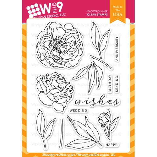 Wplus9 MODERN PEONIES Clear Stamps CL-WP9MPE Preview Image