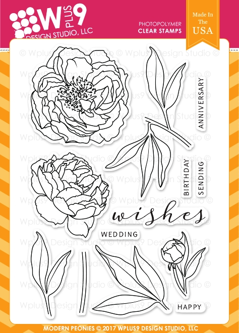 Wplus9 MODERN PEONIES Clear Stamps CL-WP9MPE zoom image