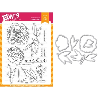 Wplus9 MODERN PEONIES Clear Stamp And Die Combo WPLUS400
