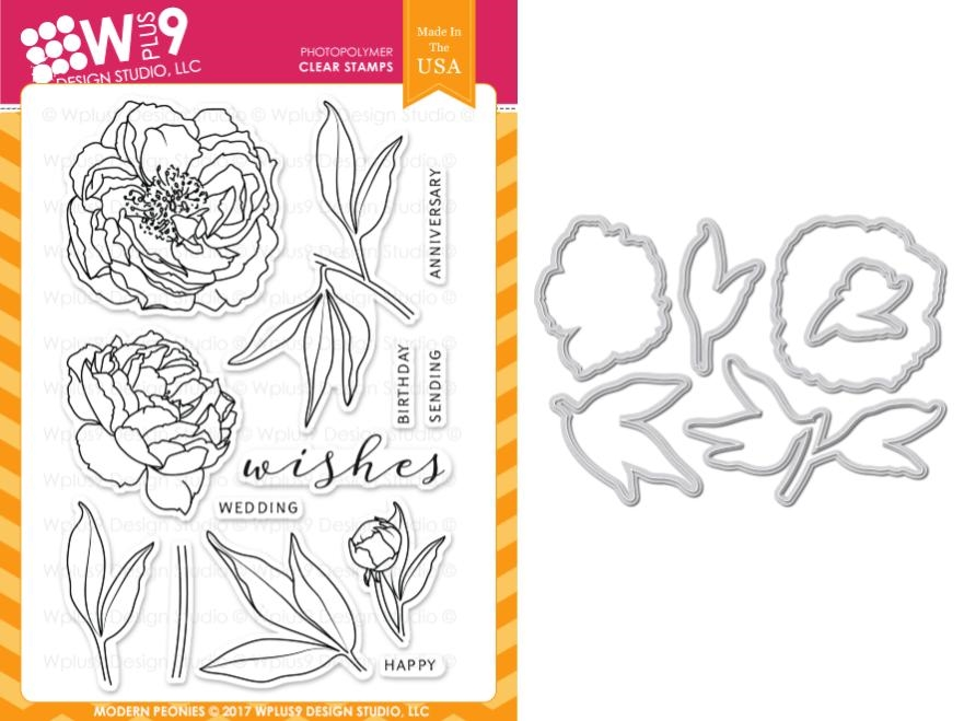 Wplus9 MODERN PEONIES Clear Stamp And Die Combo