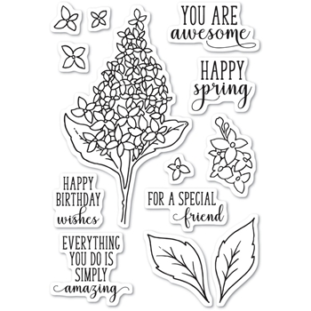 Memory Box Clear Stamps SPRING LILACS Open Studio CL5199