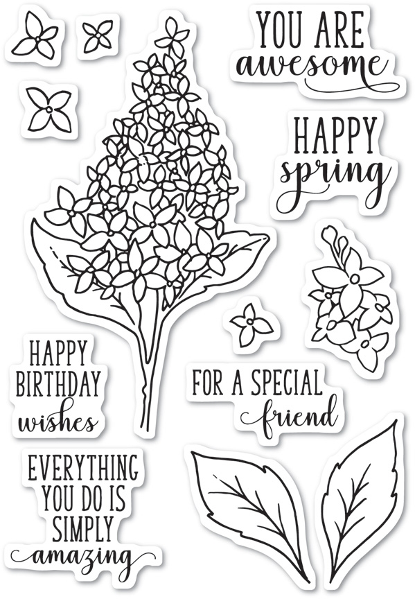 Memory Box Clear Stamps SPRING LILACS Open Studio CL5199 zoom image