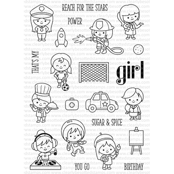 Clearly Besotted GIRL POWER Clear Stamp Set