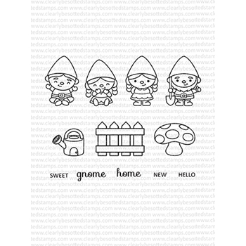 Clearly Besotted GARDEN GNOMES Clear Stamp Set