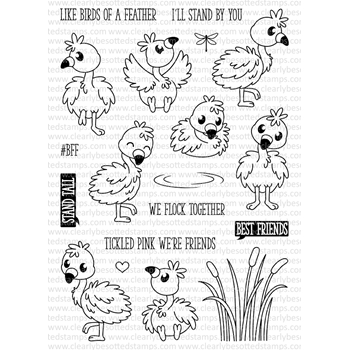 Clearly Besotted FLUFFY FLAMINGOS Clear Stamp Set