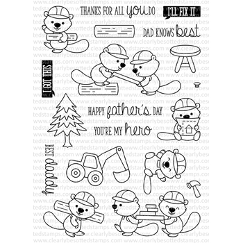 Clearly Besotted BUILD IT BEAVERS Clear Stamp Set