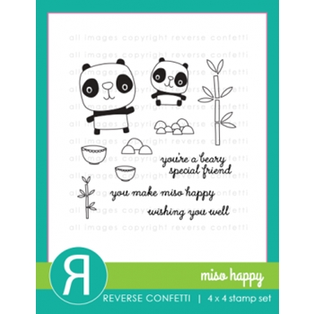Reverse Confetti MISO HAPPY Clear Stamp Set