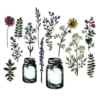 Tim Holtz Sizzix Framelits FLOWER JAR Wafer Thin Die Set 662270