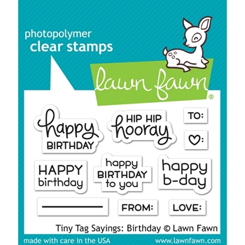 Lawn Fawn TINY TAG SAYINGS BIRTHDAY Clear Stamps LF1421