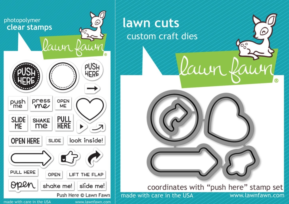 Lawn Fawn SET LF17SETPH PUSH HERE Clear Stamps and Dies zoom image