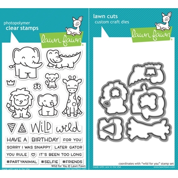 Lawn Fawn LF17SETWFY WILD FOR YOU Clear Stamps and Dies