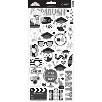 Doodlebug HATS OFF ICONS Cardstock Stickers 5601
