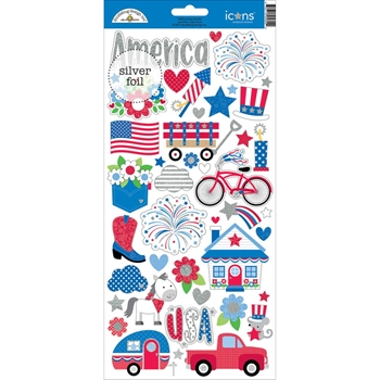 Doodlebug YANKEE DOODLE ICONS Cardstock Stickers 5602