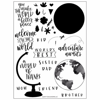 Concord & 9th GLOBE GREETINGS Clear Stamp Set 10201C9