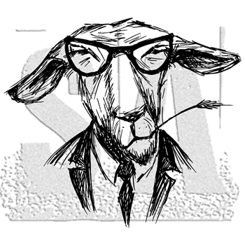 Tim Holtz Rubber Stamp HIPSTER GOAT Stampers Anonymous P1-2958