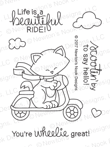 Newton's Nook Designs NEWTON SCOOTS BY Clear Stamp Set 20170502 zoom image