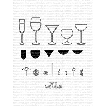 Clearly Besotted RAISE A GLASS II Clear Stamp Set