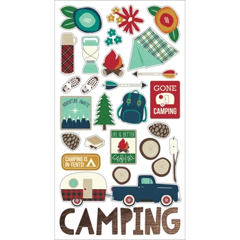 Simple Stories CABIN FEVER 6 x 12 Chipboard Stickers 3044