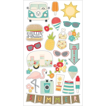 Simple Stories SUMMER DAYS 6 x 12 Chipboard Stickers 9114