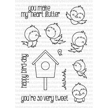 Clearly Besotted HAPPY BIRD-DAY Clear Stamp Set