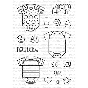Clearly Besotted LITTLE ONESIE II Clear Stamp Set