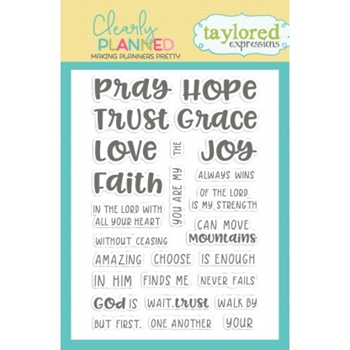 Taylored Expressions Clearly Planned FAITH HOPE LOVE Clear Stamp Set TECP34