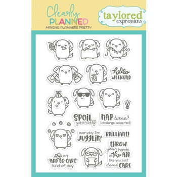 Taylored Expressions Clearly Planned WAG MORE BARK LESS Clear Stamp Set TECP36