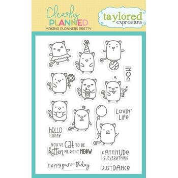 Taylored Expressions Clearly Planned CATTITUDE Clear Stamp Set TECP37