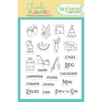 Taylored Expressions Clearly Planned FUN IN THE SUN Clear Stamp Set TECP32