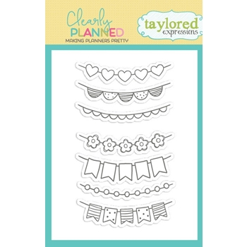 Taylored Expressions Clearly Planned CHEERY BANNERS Clear Stamp Set TECP30