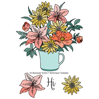 Technique Tuesday HI BOUQUET Greenhouse Society Clear Stamps 02484