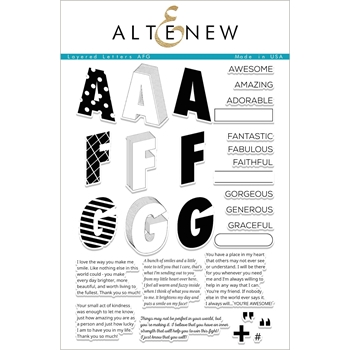 Altenew LAYERED LETTERS AFG Clear Stamp Set ALT1695