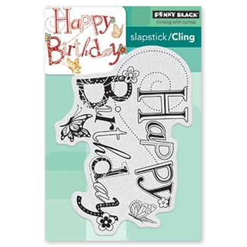 Penny Black Cling Stamp BIRTHDAY HOOPLA 40-522