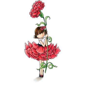 Stamping Bella Cling Stamp TINIE TOWNIE GARDEN GIRL CARNATION Rubber UM EB501