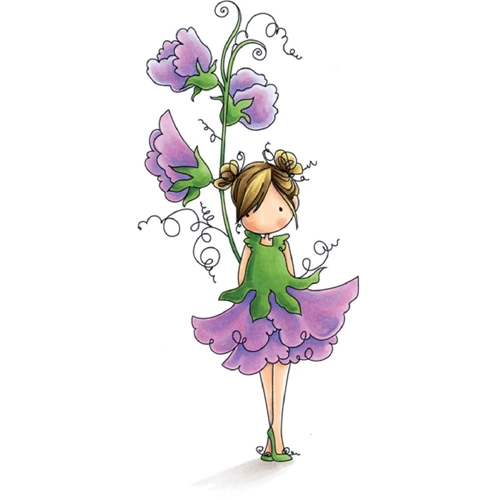 Stamping Bella Cling Stamp TINIE TOWNIE GARDEN GIRL SWEET PEA Rubber UM EB504 Preview Image