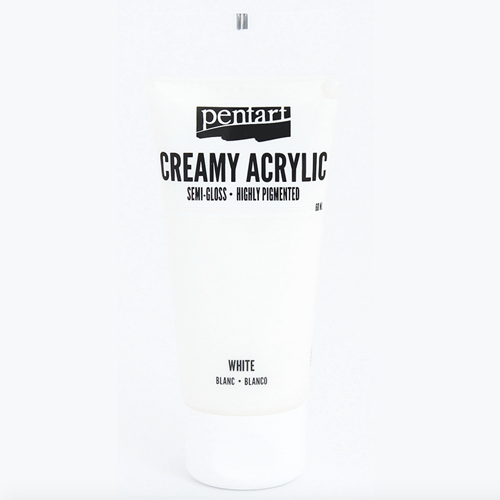 Pentart WHITE Creamy Semi-Gloss Acrylic Paint 27942 Preview Image