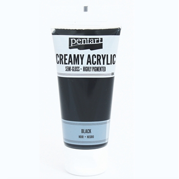 Pentart BLACK Creamy Semi-Gloss Acrylic Paint 27941