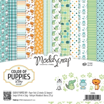 Elizabeth Craft Designs COLOR OF PUPPIES BOY ModaScrap 6x6 Paper CPBPP6